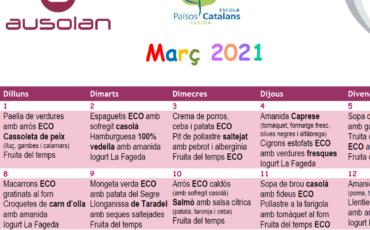 Menú Menjador Març i Abril 2021